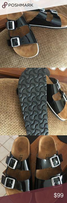 New black Birkenstocks! Never worn black Birkenstocks. A hair to small for me but, a fantastic sandal. Birkenstock Shoes Sandals