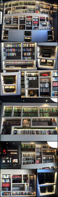 Details of the beautiful video game display wall of shelves with LED lights via Reddit user Galdius.