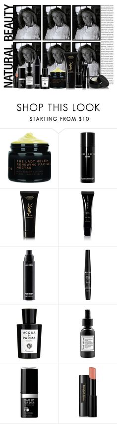 """""""Minimalist Beauty"""" by marionmeyer ❤ liked on Polyvore featuring beauty, Lauren Ralph Lauren, Bobbi Brown Cosmetics, Yves Saint Laurent, Giorgio Armani, MAC Cosmetics, NYX, Acqua di Parma, Trish McEvoy and MAKE UP FOR EVER"""