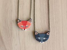 REVERSIBLE fox Necklace earthenware ceramic fox by HandyMaiden, $60.00