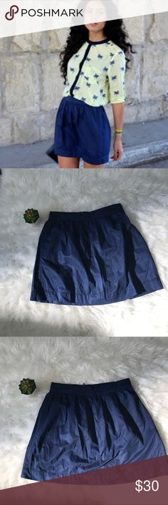 """ASOS Stradivarius Women's Navy Blue Mini Skirt-XS Adorable chiffon Navy blue pleat top A-line skirt. Mini length (mid-thigh) zip at back-XS  📍 in good condition- no stains or rips! Smoke feee home  Measurements laying flat  Waist-13"""" Length-16"""" ASOS Skirts"""