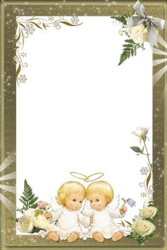Beautiful Transparent Photo Frame with Angels Front Page Design, Baptism Cards, Christmas Border, Christmas Stationery, Birthday Frames, Cute Frames, Quilt Labels, Frame Clipart, Borders And Frames