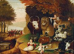 Edward Hicks (1780–1849) The Peaceable Kingdom, c.1833, oil on canvas, Westervelt Warner Museum of American Art. Tuscaloosa, Alabama