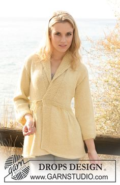 "DROPS Extra 0-616 - Knitted DROPS jacket with pleats in 2 threads ""Alpaca"". Size S - XXXL."