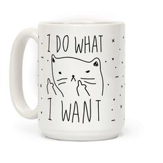 Show off your independence and rebelliousness with this sassy, cat lover's, careless feline inspired coffee mug! Go ahead and channel your inner cat, knock over some glasses, and do what you want! Shop our entire coffee mug collection for more cute cats, and more cute mugs!