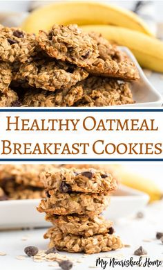 healthy oatmeal cookie recipes for breakfast - Cookies Recipes Healthy Oatmeal Cookies, Healthy Cookie Recipes, Oatmeal Cookie Recipes, Healthy Sweets, Healthy Baking, Baking Recipes, Snack Recipes, Healthy Food, Healthy Drinks