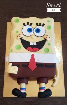 SpongeBob cake - cake by Gabriela Doroghy Fondant Cakes, Cupcake Cakes, Sponge Bob Cupcakes, Cartoon Birthday Cake, Cartoon Cakes, Funny Cake, Cake Layers, Sweet Tables, Cakes For Boys