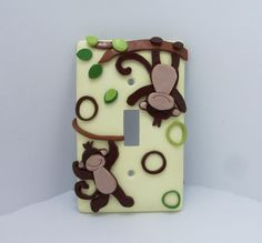 Monkey Light switch cover Jungle Toddlers by Thimbletowne, Polymer Clay, masa flexible