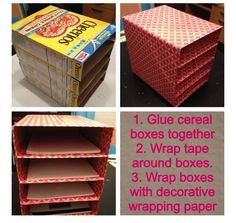 Awesome ways to recycle cereal boxes . Turn your cereal boxes into a decorative yet functional file sorter for your desk! Awesome ways to recycle cereal boxes . Turn your cereal boxes into a decorative yet functional file sorter for your desk! Organisation Hacks, Organizing Hacks, Small Space Organization, Craft Organization, Organizing Papers, Bedroom Organization Diy, Home School Organization, Dollar Store Organization, Bedroom Storage Ideas For Small Spaces