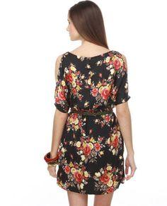 black floral dolman w/ cutout sleeves