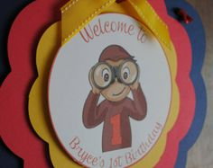 Curious George Welcome Door Sign by on Etsy Monkey Birthday, Baby 1st Birthday, 4th Birthday Parties, Birthday Ideas, Birthday Tags, Curious George Party, Curious George Birthday, Welcome Door Signs, First Birthdays