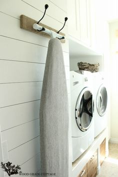 Perfect! <3 now to hang the hooks to hang the ironing board and get it out of the way ``yay! ... Laundry Room Plank Wall by The Wood Grain Cottage