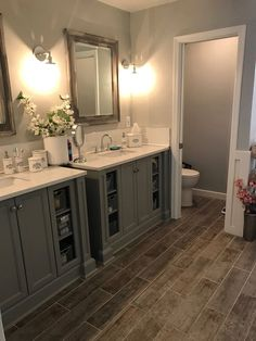 Bathroom Remodel Master Bathroom, grey bathroom, fixer upper, DIY, modern bathroom, home, decor