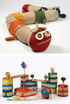 Cool mix of vintage and contemporary toys by toy-maker, Renate Müller.