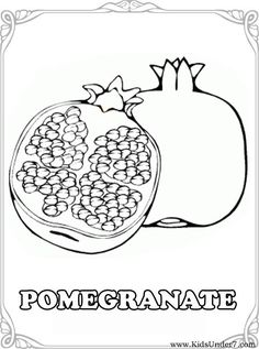 Fruits and Berries Coloring pages. Free Coloring pages Fruit and Berries. There are 16 Coloring pages including Fruits and Berries: apple. How To Open Pomegranate, Pomegranate Drawing, Fruit Coloring Pages, Coloring Book Pages, Coloring Sheets, Free Coloring, Coloring Pages For Kids, Coloring Worksheets, Jewish Crafts