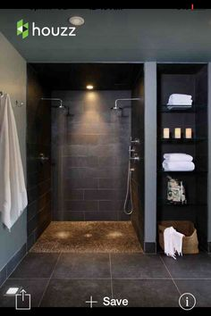Love this open shower and shelf on the end