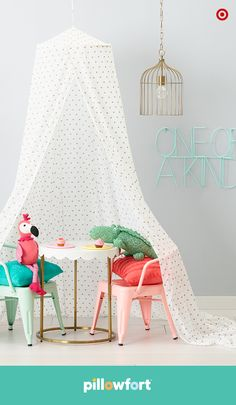 What better place for kids to find inspiration than under an airy canopy from Pillowfort's Marvelous Manor collection? Let it create an instant art space, or be the perfect place for a tea party with furry friends, the flamingo and alligator. Use it anyway you or your kid can dream up—even over a bed.