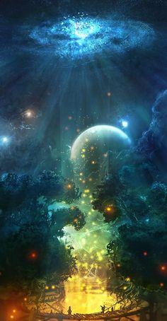 grafika fantasy, moon, and anime Fantasy Places, Fantasy World, Fantasy Artwork, Digital Art Fantasy, Space Fantasy, Fantasy Kunst, Fantasy Landscape, Fantasy Art Landscapes, Anime Scenery