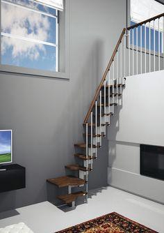 Escalera en L con zanca central modular para espacios pequeños (estructura metálica y peldaños de madera) MINI MisterSTEP