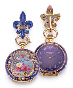 PATEK PHILIPPE A LADY'S 18K YELLOW GOLD ENAMEL AND DIAMOND-SET PENDANT WATCH Adrien Philippe was of French Protestant Huguenot Ancestry Goldsmiths in Calvinist Geneva were forbidden from making jewellery and objects of idolatry, hence they turned their attention to the manufacturing of watch cases instead