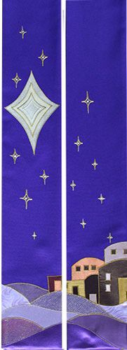 New advent stole from Elizabeth Lawson church vestments Star of David, Bethlehem