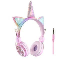 Cute Headphones, Girl With Headphones, Fashion Headphones, Unicorn Gifts, Cute Unicorn, Girly Things, Cool Things To Buy, Unicorn Room Decor, Barbie Doll Set