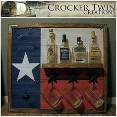 Texas flag liquor rack $125 www.facebook.com/crockertwincreations Pallet Art, Pallet Projects, Projects To Try, Texas Treasures, Rustic Wine Racks, Texas Flags, Honky Tonk, Diy Outdoor Furniture, Bar Ideas