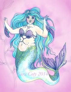 Fat Merbabe by KitschChimera on Etsy! $15. Hand embellished #glitter #mermaid #art