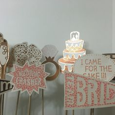 A personal favorite from my Etsy shop https://www.etsy.com/listing/480455883/copper-cream-wedding-photo-booth-props