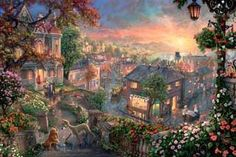 """Thomas Kinkade-""""Lady and the Tramp""""- Open edition 14"""" by 14"""" Canvas Giclee Prints"""