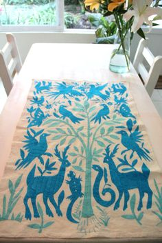 Limited Turquoise and Sky Blue Textile Perfect for by CasaOtomi,     www.casaotomi.com Tenango, Otomi, Casa otomi, Casaotomi, Mexican Suzani, Mexican, wedding, Textile, Fabric, Hand Embroidered, embroidery, table runner, cushion, pillow, authentic, wall hanging,