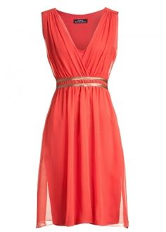 Coral dress...simple and elegant. Love the pop of gold. Would be super cute with a pair of gold strappy heels
