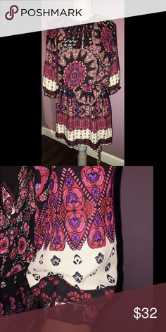 "Collective Concepts Boho Style Print Dress Beautiful Multi Colored Boho Style Print Dress. Scrunch Waist. A Very Pretty Tussled Rope to tie your Neck Line. Can also be worn as a Blouse Top with Leggings or a Pair of Tights. Great for any Season & Occasion. Measurements Laying Flat. Bust: 20"" Waist: 12-1/4"" Hip: 21"" Length: 34"" Sleeve: 8-5/8"".  Multi Colored: A Combination of Reds, Purple, White, Black, Pink. Collective Concepts Dresses"