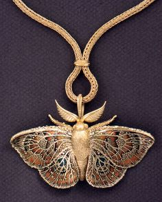 Moth Pendant Brooch, 1994. John Paul Miller (American, b. 1918). Gold, enamel. Collection of Barbara S. Robinson © John Paul Miller. Credit: Cleveland Museum of Art.