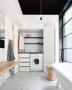 If space is at a premium, then consider the trend of a small European laundry. With European laundry ideas, inspiration & design tips, we will ensure you are on the right path for an efficient small modern laundry. Laundry Bathroom Combo, Laundry Cupboard, Laundry Closet, Small Bathroom, Bathroom Ideas, Laundry Rooms, Bathroom Gray, Small Sink, Bathroom Towels
