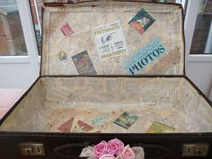 for photobooth props -  Vintage Suitacase and Photobooth Props   http://www.ebay.co.uk/itm/Vintage-Suitcase-containing-Fancy-Dress-Props-/250876185932?pt=Adult_Fancy_Dress_UK=item3a6962cd4c  The suitcase is from WWII, it was on a submarine going from Singapore to the UK. The submarine apparently sank some time later but not while the case and it's owner were onboard! We used pages from a book and retro/vintage style travel stamps to decoupage the inside of the case, and we've re-hinged i...