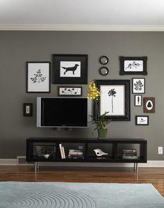 parede cinza para TV
