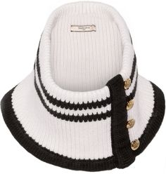 Bouchra Jarrar Striped Knitted Wool Scarf #black #white #gold #knitted #scarf #knit #unique #fashion