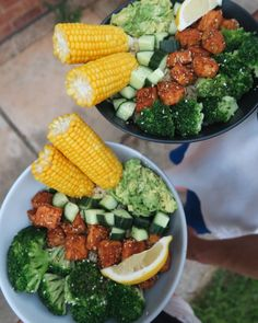 "maddielymburner: ""Dinner for 2 ❤ Made this in my latest WIED video! Quinoa + brown rice, broccoli, tofu, cucumber, avocado, and corn to see how I made this plus 2 other yummy meals, click the..."