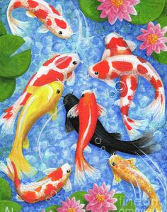 Wealth and Blessings acrylic painting of nine koi fish swimming in a bright blue pond surrounded by pink lily pads. In Feng Shui Koi fish are especially beneficial for Wealth and Blessings. Koi Art, Fish Art, Feng Shui Koi Fish, Koi Kunst, Koi Painting, Gold Fish Painting, Feng Shui Art, Fish Wallpaper, Feng Shui Wallpaper