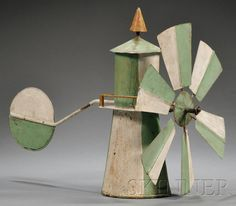 Painted Sheet Metal Lighthouse-form Weather Vane