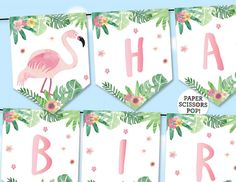 Pink Flamingo Birthday Banner Tropical Banner Watercolor