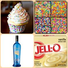 Vanilla Cupcake Pudding Shots  1 small Pkg. vanilla instant pudding  3/4 Cup Milk 3/4 Cake vodka sprinkles of choice for garnish 8oz tub Cool Whip  Directions 1. Whisk together the milk, liquor, and instant pudding mix in a bowl until combined. 2. Add cool whip a little at a time with whisk. 3.Spoon the pudding mixture into shot glasses, disposable shot cups or 1 or 2 ounce cups with lids. 4. Garnish with sprinkles and place in freezer for at least 2 hours
