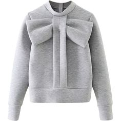 Gray Bow Tie Front Sweatshirt ($45) ❤ liked on Polyvore featuring tops, hoodies, sweatshirts, bow tie top, grey sweatshirt, polyester sweatshirt, tie front top and bow top