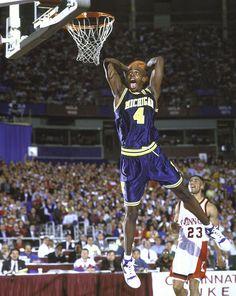 Chris Webber / Fab Five / Michigan / Fab 5 Basketball Legends, Sports Basketball, College Basketball, Basketball Players, Nba Players, Basketball History, Ncaa College, Kentucky Basketball, Duke Basketball
