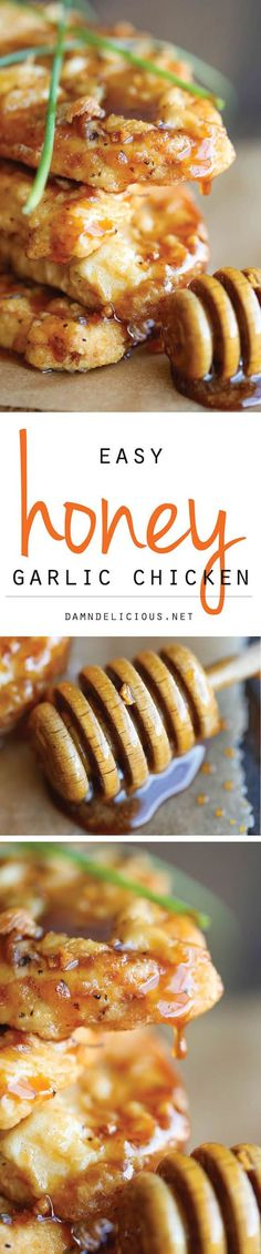 Honey Garlic Chicken - The most amazing crisp-tender chicken with a honey…