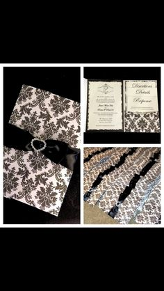 Pocket Wedding Invitation shown in black and white damask print.  For more details contact: info@theinviteonline.com
