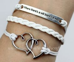 Heart to heart-motto( where there's a will, there's a ways) bracelet-antique silvery cute personalized jewelry bangle