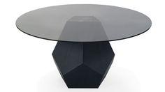 Modern Dark Oak and Glass Round Prism Dining Table | Zuri Furniture