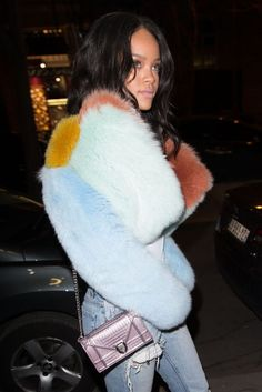 Rihanna wearing fur coat while out and about in Paris (March 2015). #rihanna